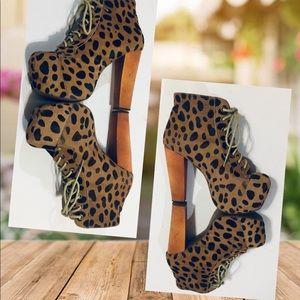 Jeffrey Campbell Lita Fur Leopard Ankle Boots sz 7